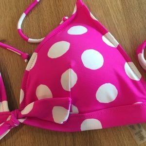 Victoria's Secret Swim - Victoria Secret Pink & White Bikini Top - Large